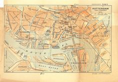 1938 City Map of Rotterdam Street Plan Netherlands Lithograph at