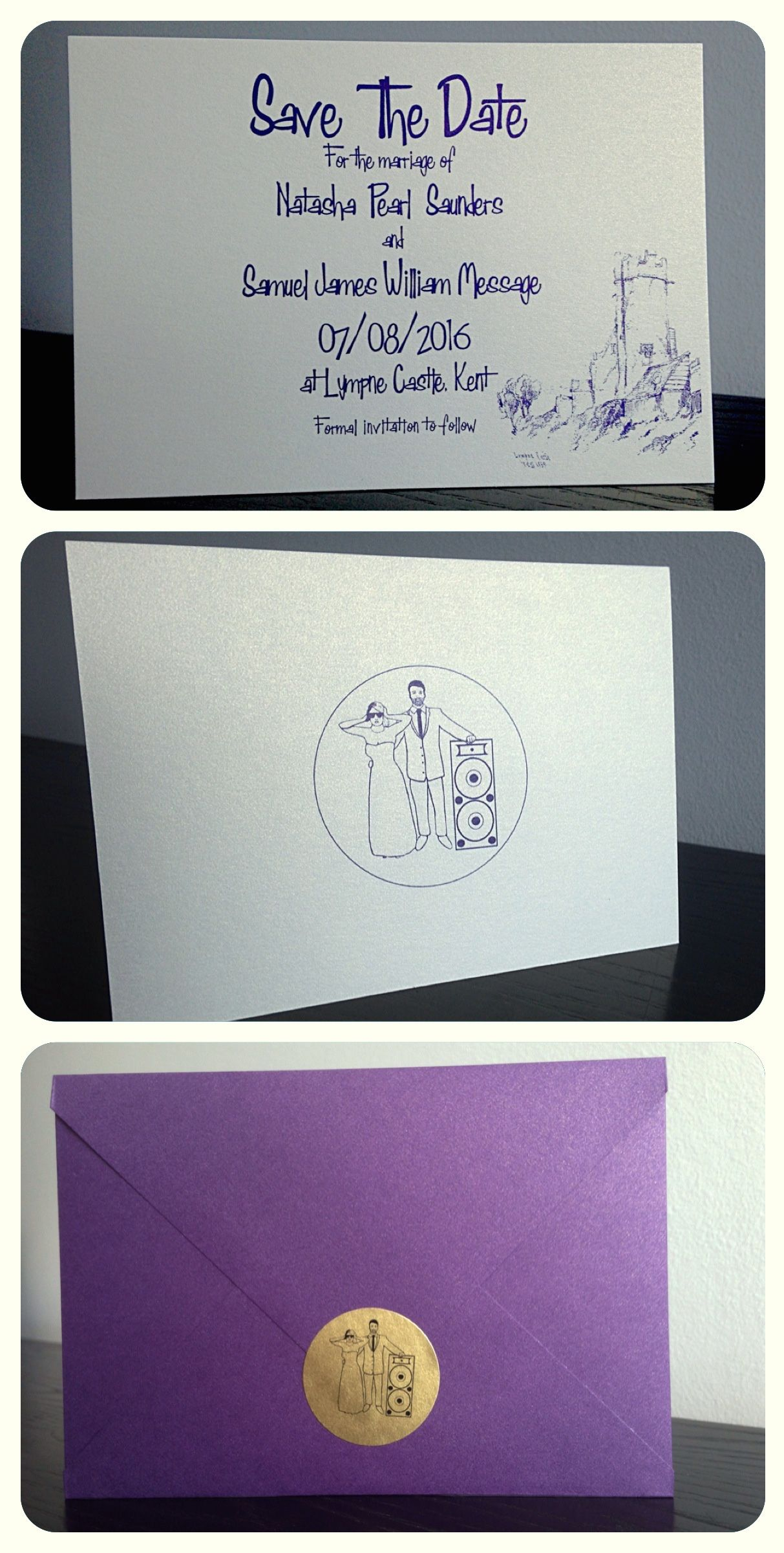 Purple and Gold 'Save the Date' cards