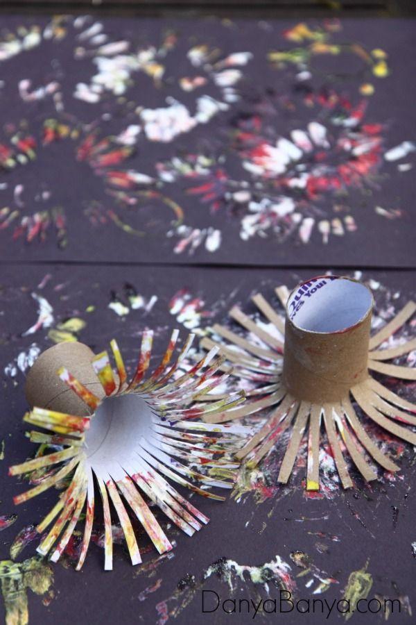easy fireworks painting for kids silvester mit kindern. Black Bedroom Furniture Sets. Home Design Ideas