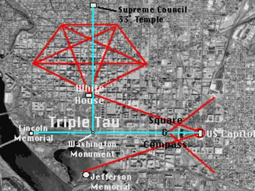 A map of Washington, DC, with the overlay of Masonic symbols ...