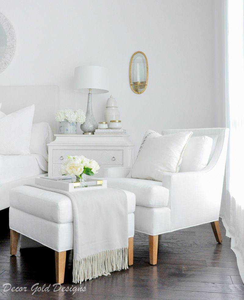Gray Bedroom Sitting Area With Tufted Chair Bedroom Seating Bedroom Seating Area Bedroom With Sitting Area