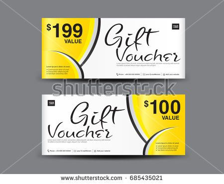 Yellow Gift Voucher template layout, business flyer design - coupon flyer template