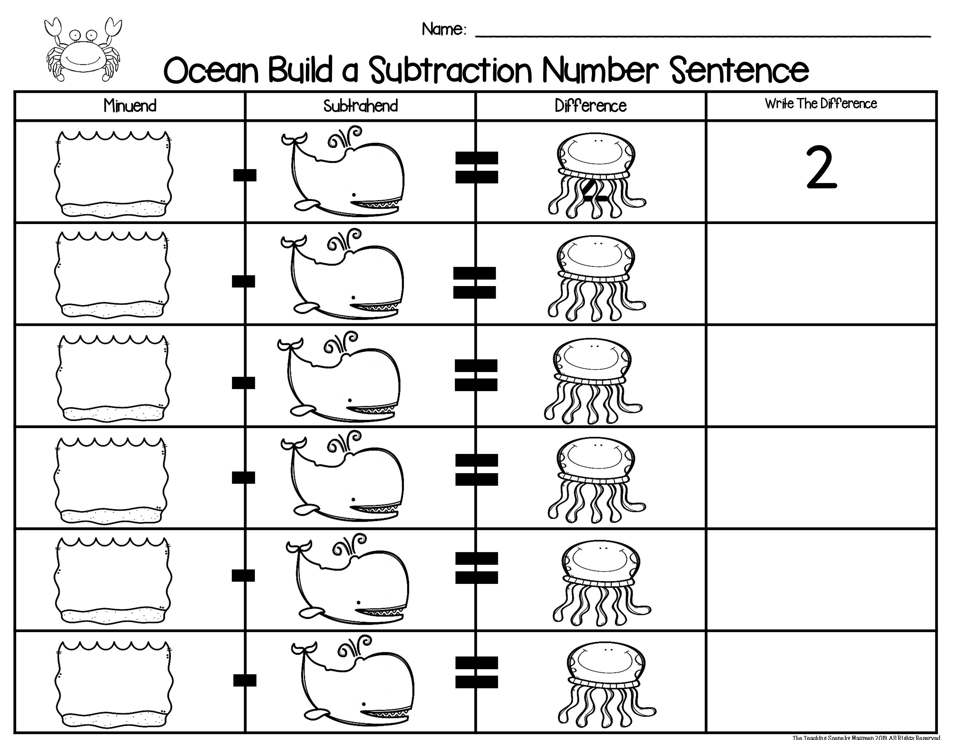 Ocean Build 2 Addend 0 20 Addition Amp Subtraction Number