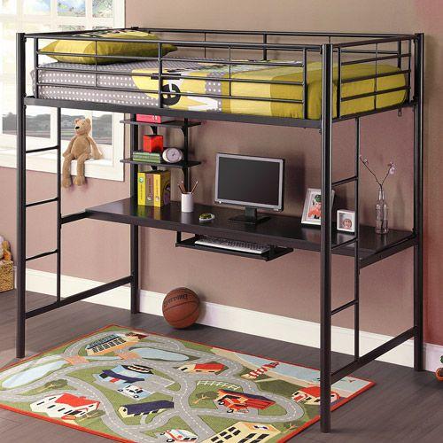 premium metal twin loft bed over workstation black featured shops walmartcom