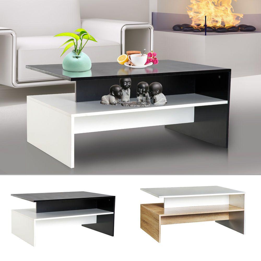 Twotone modern tier wooden coffee table side desk living room