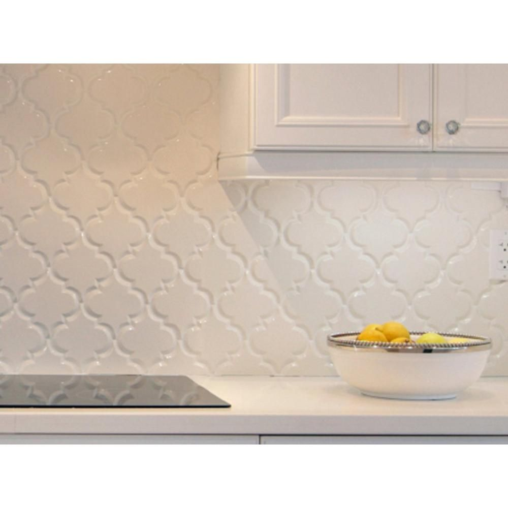 Arabesque Lantern White Porcelain Mosaic Floor Decor White Tile Backsplash Backsplash Kitchen White Cabinets Kitchen Backsplash Designs