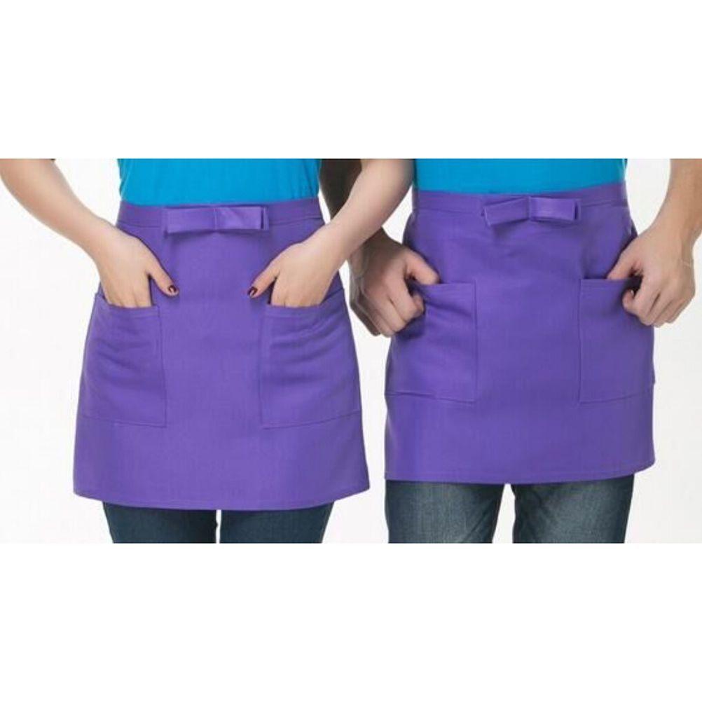 Kitchen Cotton Bow Short Half Waist Apron Bar Pub Cafe Server Waiter Waitress  P