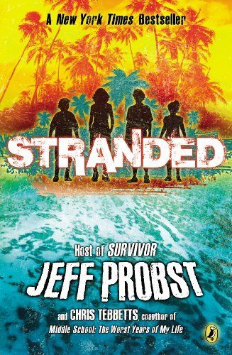 "Stranded by Chris Tebbetts + Jeff Probst (although I truly wonder how much ""writing"" he contributed ...), my son read it in forty-five minutes -- he was HOOKED. I'm currently reading it and like how it encourages blended families AND how kids of all types can have different smarts, whether they be younger or not athletic. Exciting!"