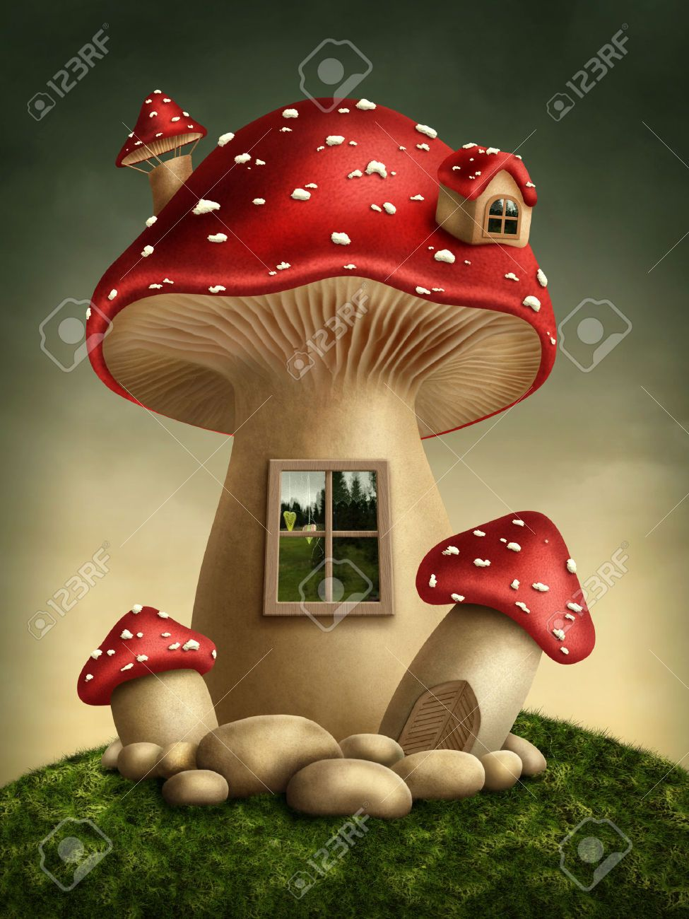 Fantasy Mushroom House In The Forest Stock Photo, Picture And Royalty Free Image. Pic 32091163.