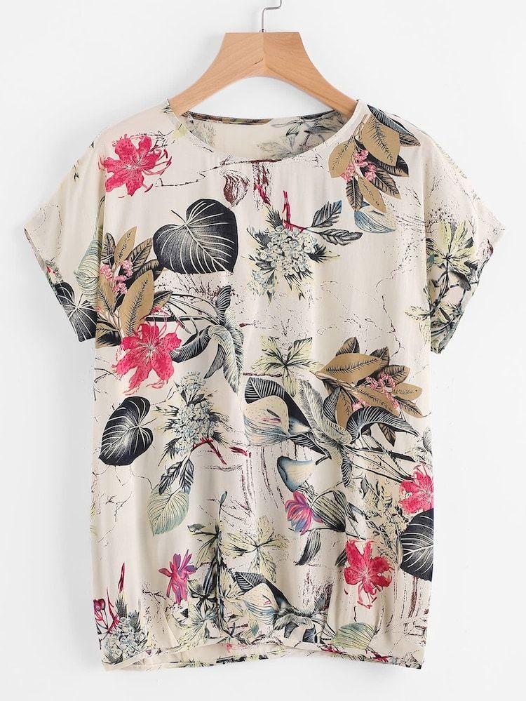 Camiseta Con Estampado Floral Grande Shein Es Moda Camiseta Con Estampado Floral Vestidos De Moda