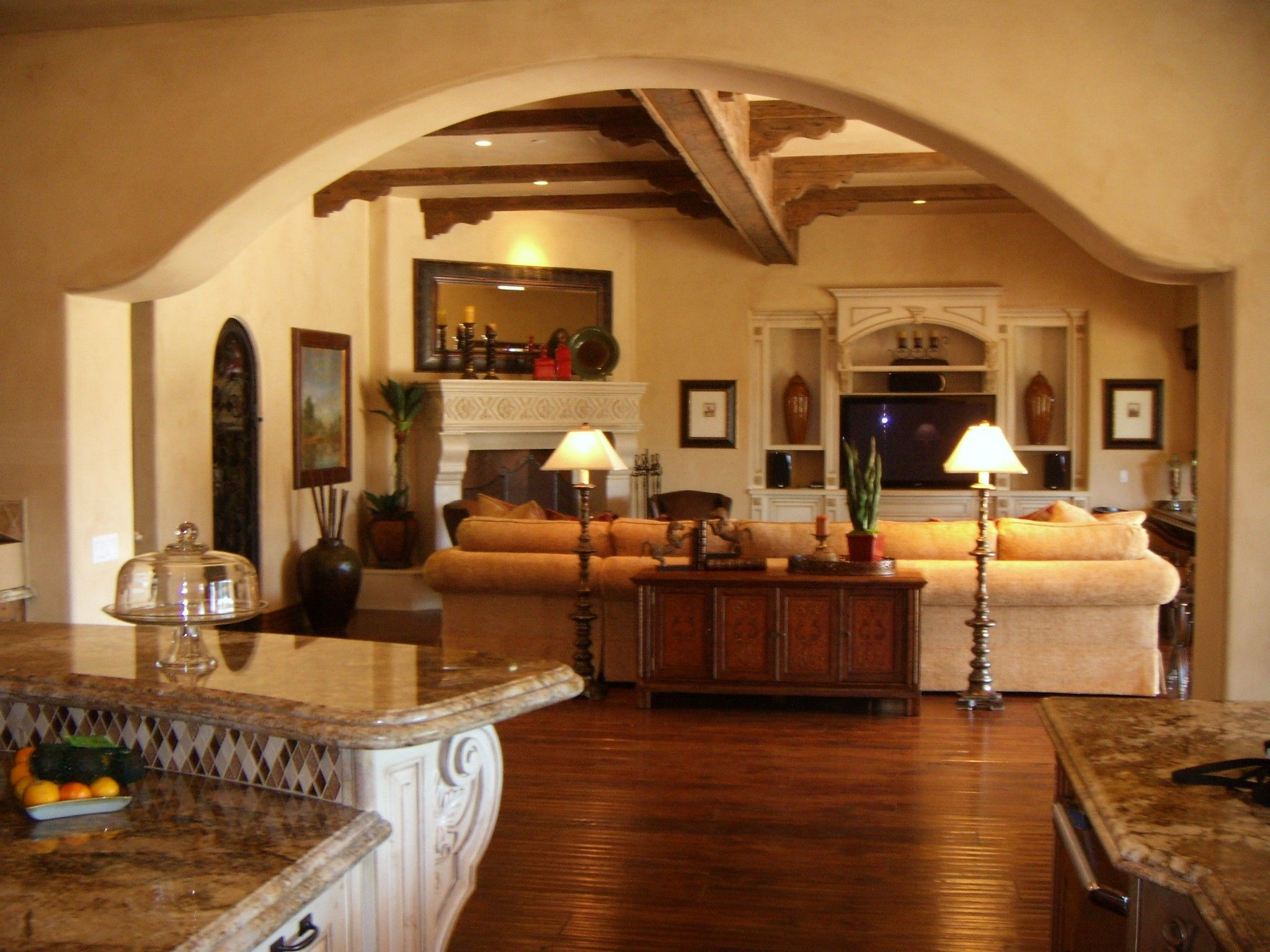 View Of Hacienda Style Living Room