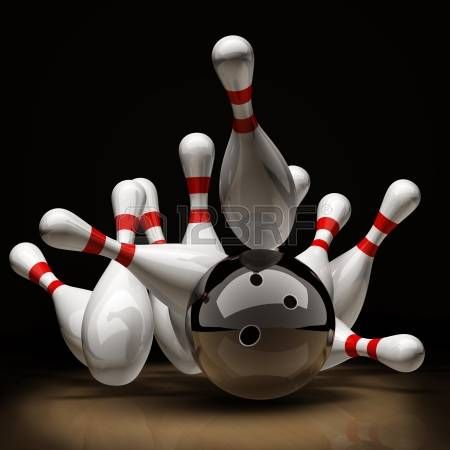 Bowling Blue Glossy Ball Smashing To Colorful Pins Isolated On Bowling Bowling Pictures Bowling Ball