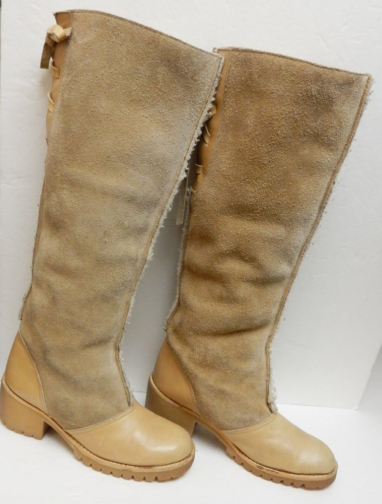 b68569984 NINA Tall Leather Suede Boots Faux Fur Pull On Camel Tan Spain Women s Size  6 M  Nina  OverKneeBoots  Alloccasion
