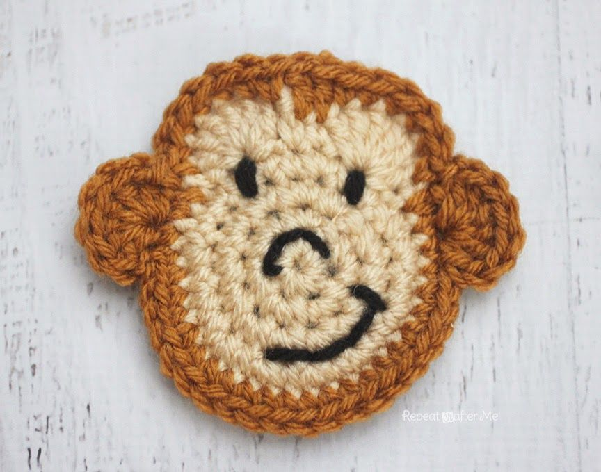M is for Monkey: Crochet Monkey Applique (Repeat Crafter Me ...