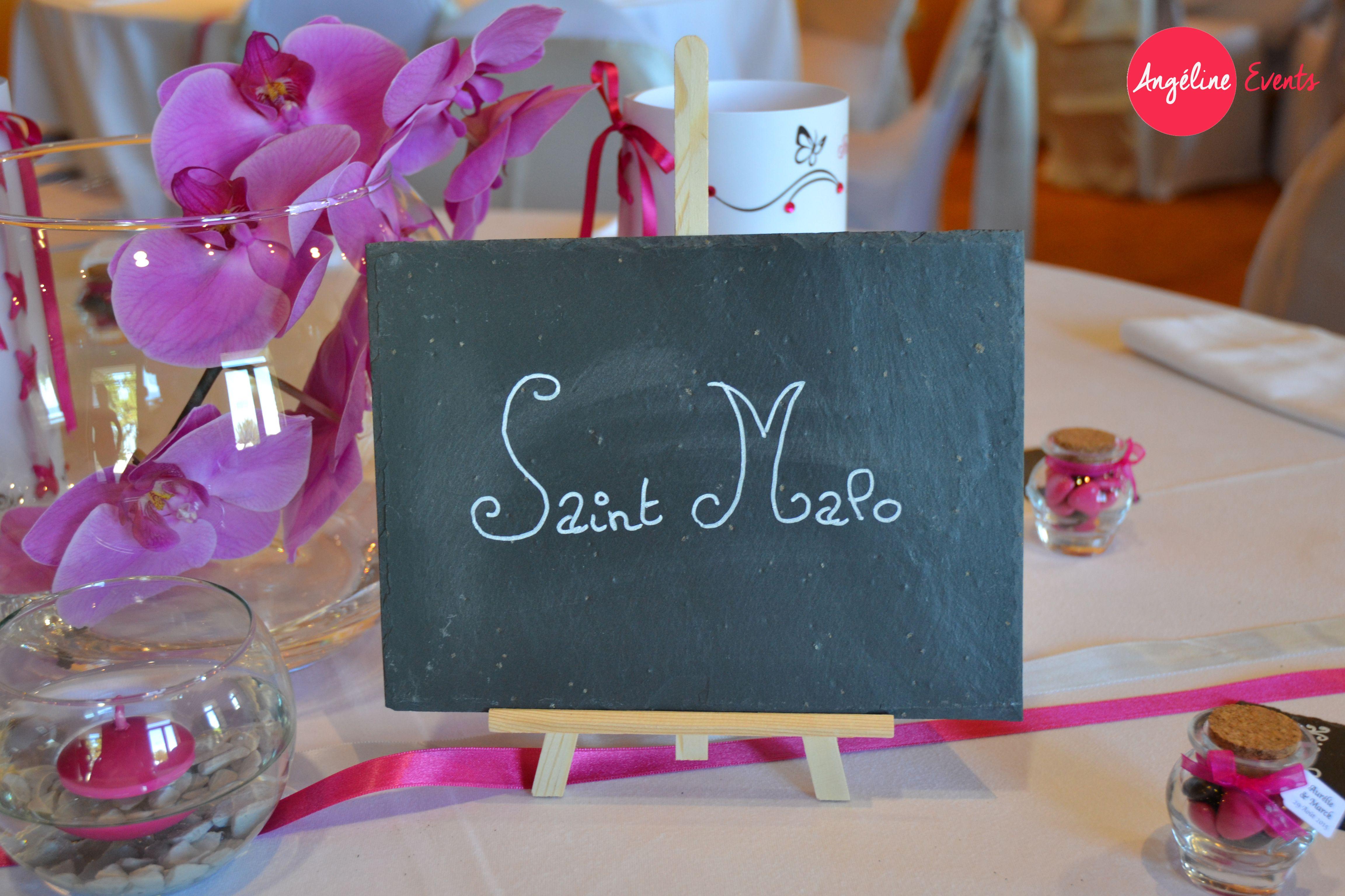 mariage nom de table ardoise sur chevalet orchidée rose fushia ...