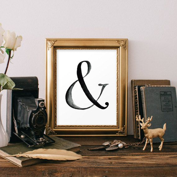 Ampersand Print Typography Poster Black and White Ampersand Sign ...
