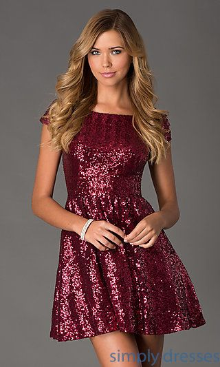4dc1dc4101ab Valentine dance Short Sequin Short Sleeve Dress at SimplyDresses.com ...