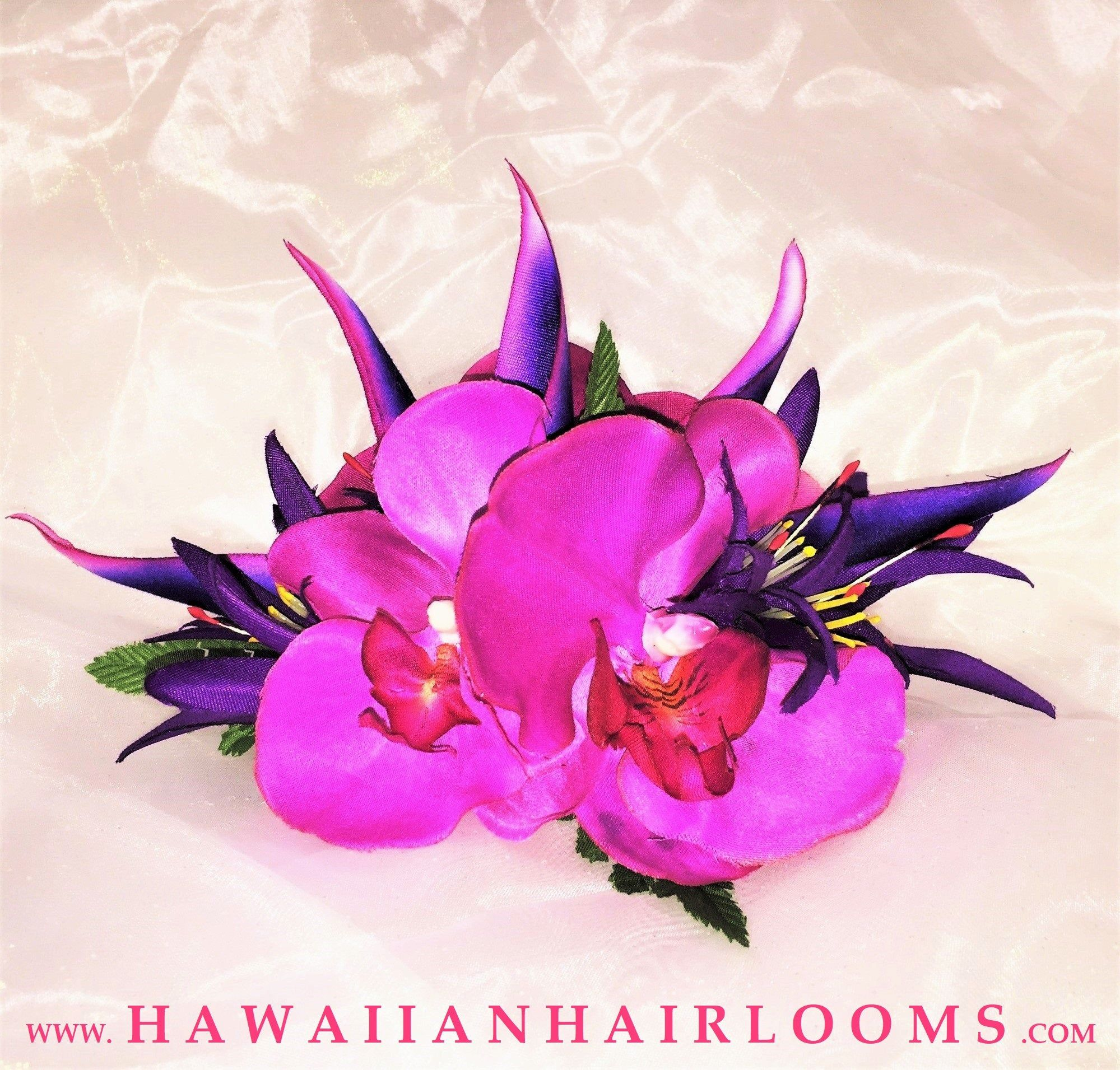Celestial Blooms Hawaiian Flowers Hair Clip Silk Orchids Purple Jewel Colors Hula Flowers Pinups Hair Weddin In 2020 Silk Orchids Hawaiian Flowers Hawaiian Flower Hair