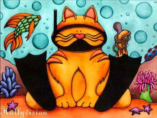 Whimsical Scuba diving Cat Art