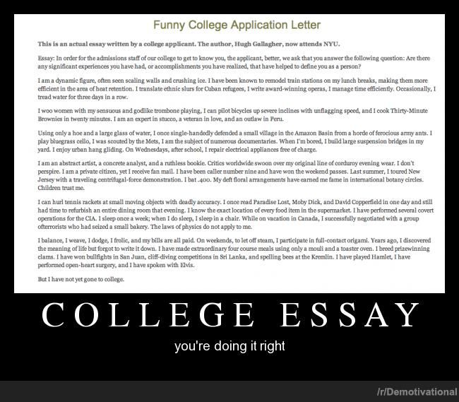 College admission essay humor