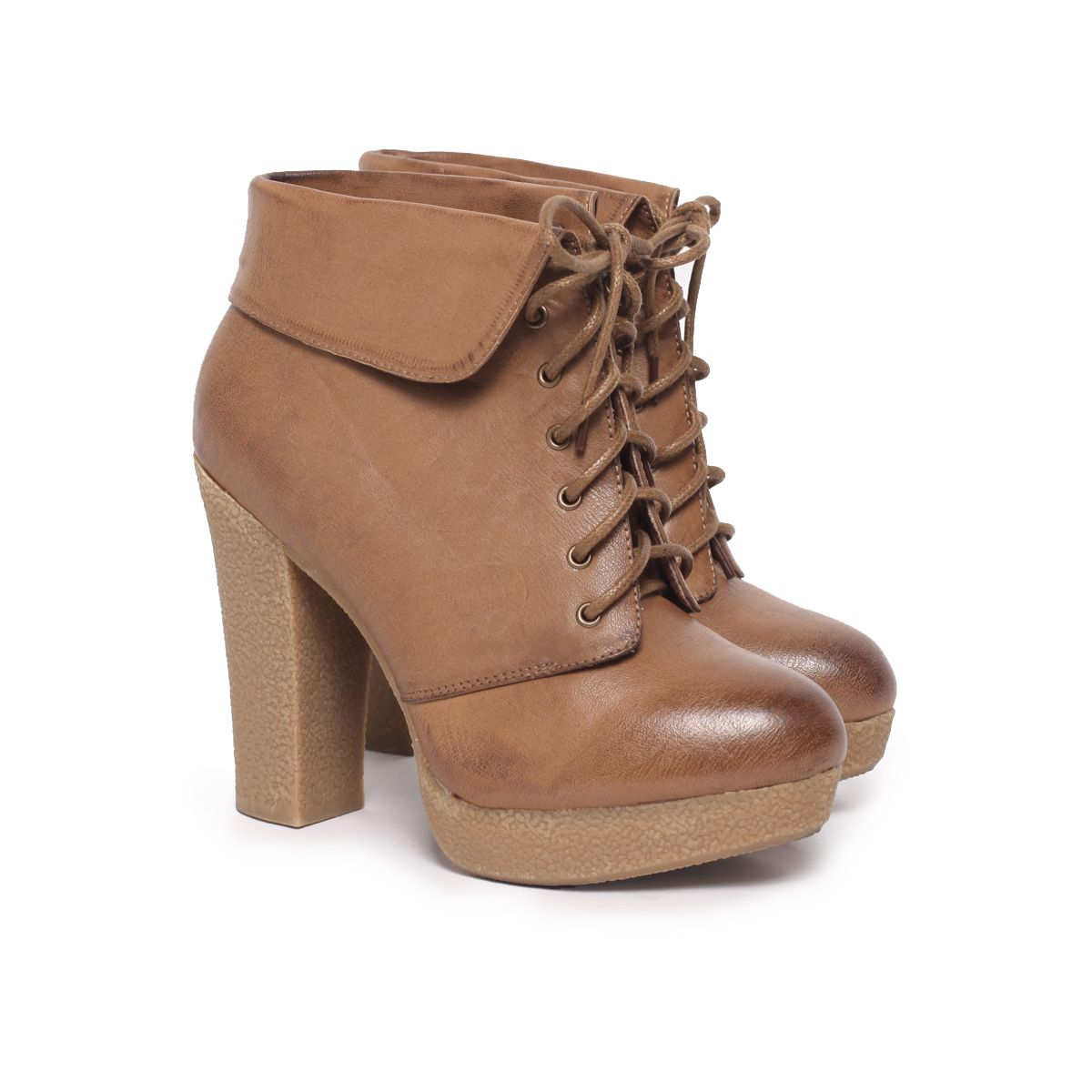 Folded Lace Up Booties