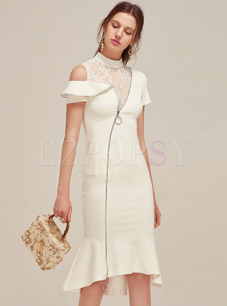 Elegant Lace Asymmetric Patch Mermaid Dress Fancy Dresses Designer Dresses Elegant Fashion [ 1066 x 789 Pixel ]