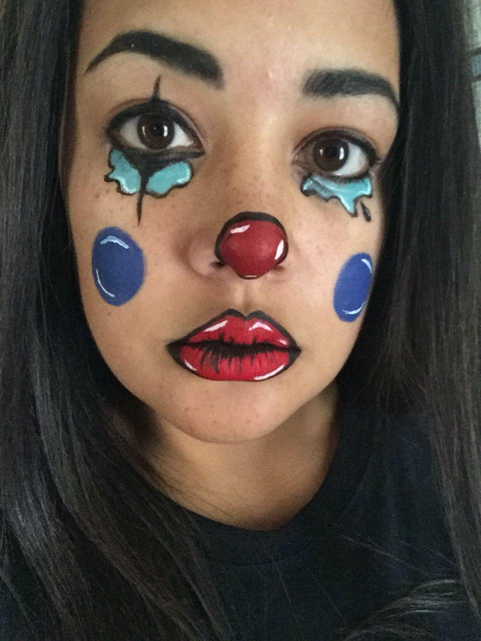 Quick cartoon crying clown! Makeup, Face makeup