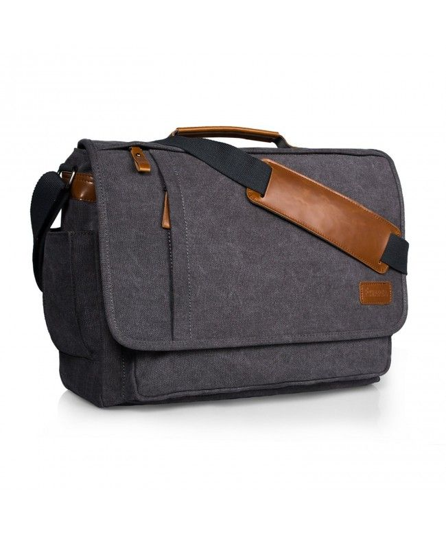 Laptop Messenger Bag 17 Inch Water-resistance Canvas Shoulder Bag for Work  College - Grey - CB18424KTO5  Bags  handbags  gifts  Style  Messenger Bags 07cbae6f0913e