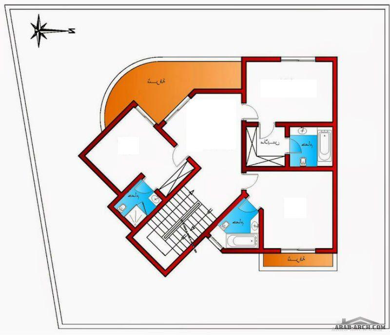 تصميم فيلا صالة نساء و صالة رجال مع حمام و معيشة مفتوحة على المطبخ وثلاث غرف ماستر من اعمال Art Ken Modern House Plans Dream House Plans House Plans