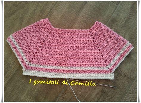 I tutorial di Camilla  realizziamo insieme un corpino uncinetto per un  vestitino da bimba taglia 0-3 mesi. Spiegazioni passo passo 2c241bb9a4ba