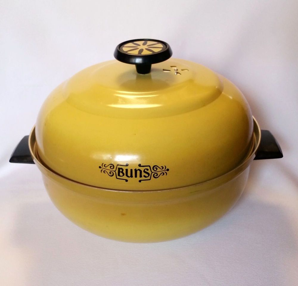 Vintage Bun Warmer Aluminum Mirro Harvest Gold Yellow Retro S - Diy bun warmer