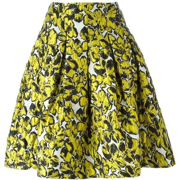Oscar de la Renta floral print skirt (€1.445) ❤ liked on Polyvore featuring skirts, oscar de la renta, suknje, green floral skirt, flower print skirt, green skirt, floral printed skirt and floral print skirt