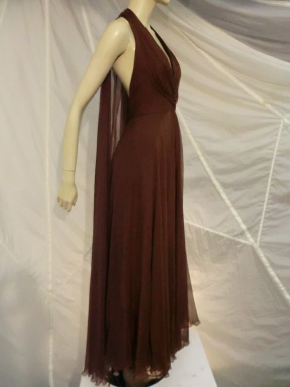 1970s Mr Blackwell Chocolate Brown Chiffon Halter Gown Halter