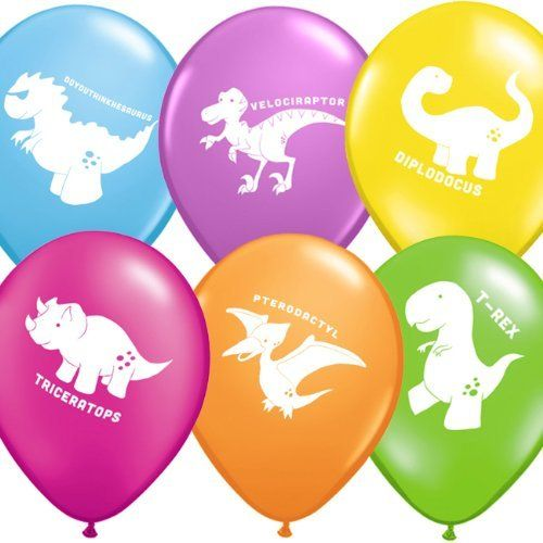 "Uninflated 12"" Cute Dinosaurs Balloons Asstd 6 Pack By"