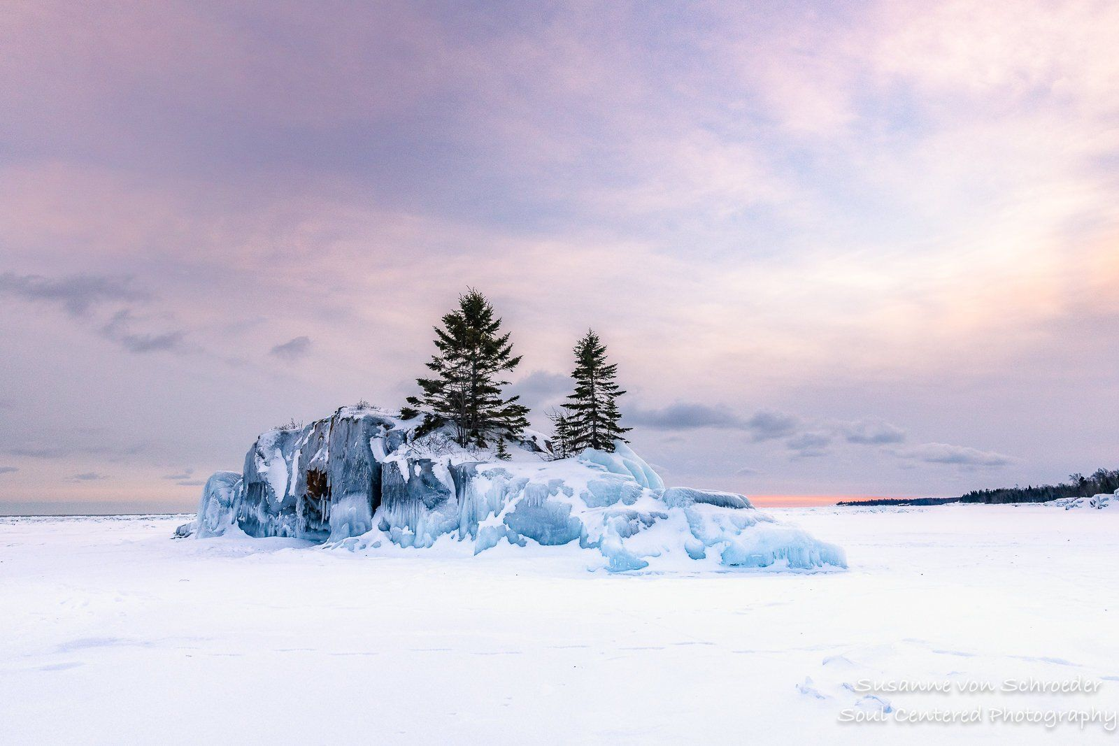 Lake Superior Hollow Rock Winter Sunset Landscape Photography Pastel Colors North Shore Minnesota Peaceful Healing Art Blue Hour Winter Sunset Lake Superior North Shore Minnesota