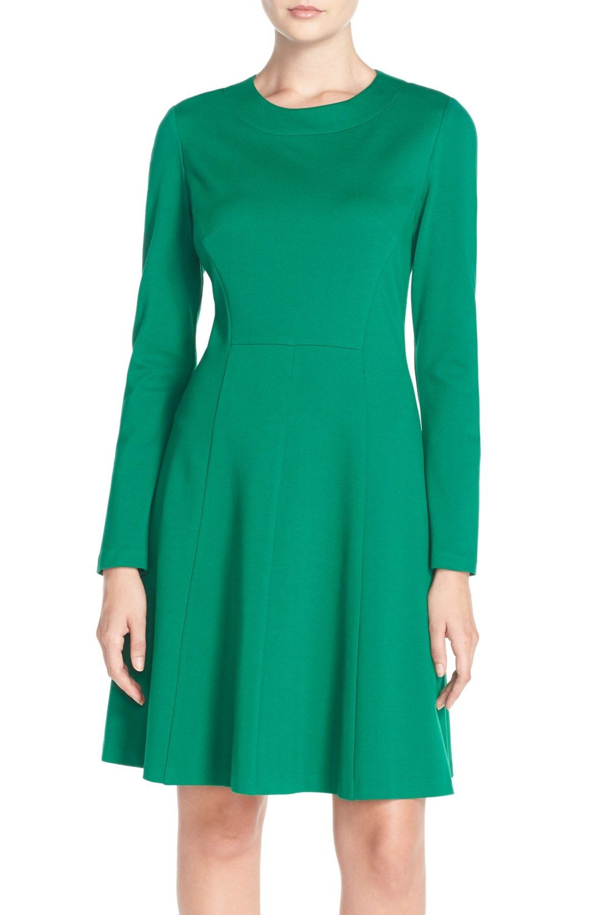 Long Sleeve Ponte Fit & Flare Dress | Fit flare dress, Free shipping ...