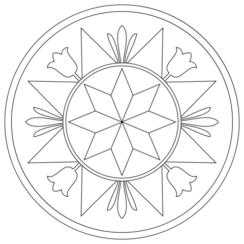 Pennsylvania Hex Sign with Compass Rose Coloring page | Bordados ...