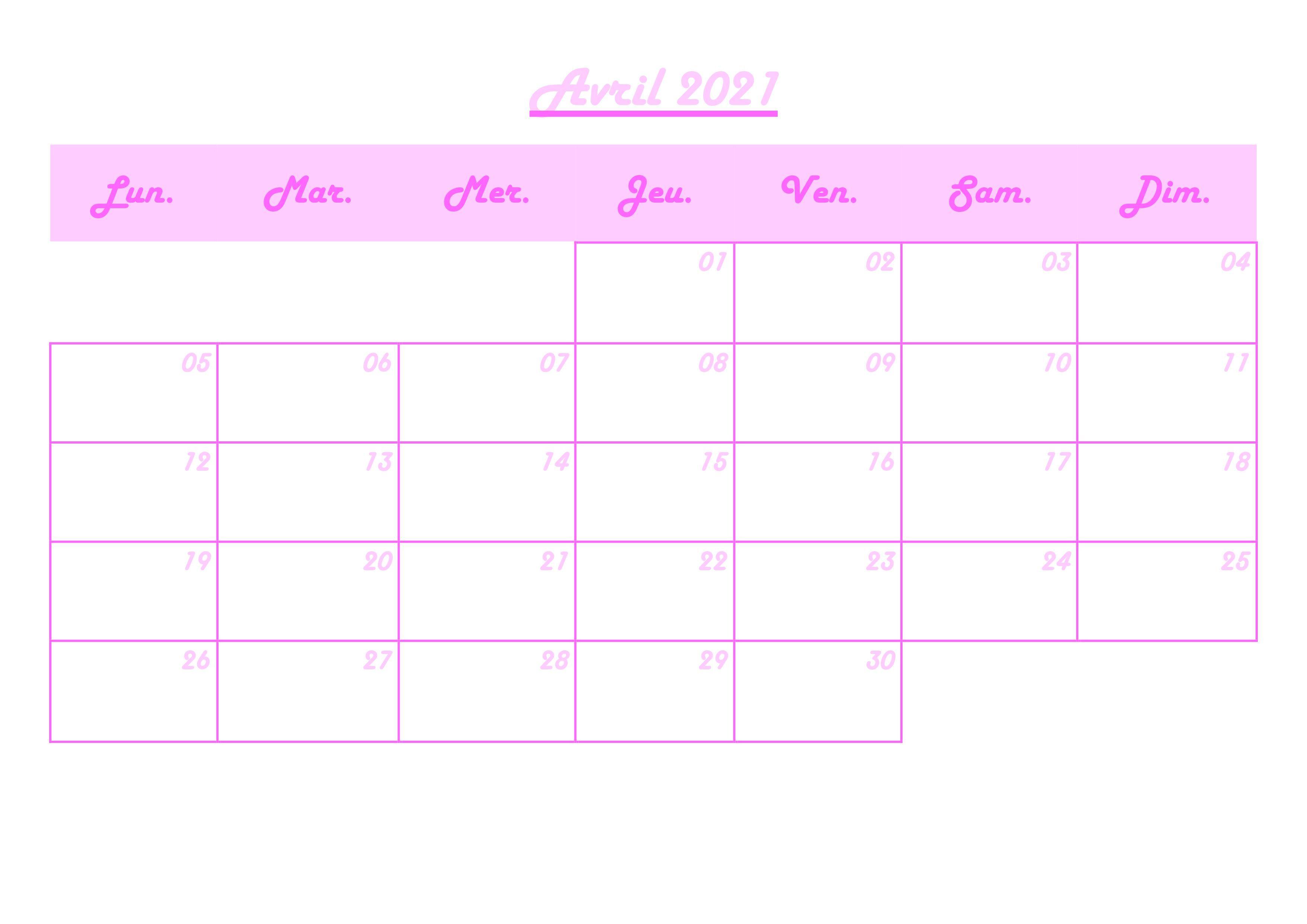 Calendrier mensuel avril 2021 | Calendrier mensuel, Mois de l
