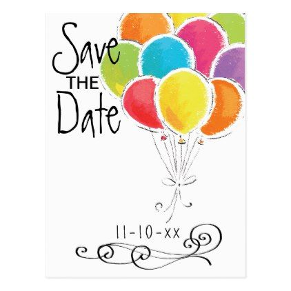 Birthday Party Colorful Balloons Save the Date Postcard Weddings