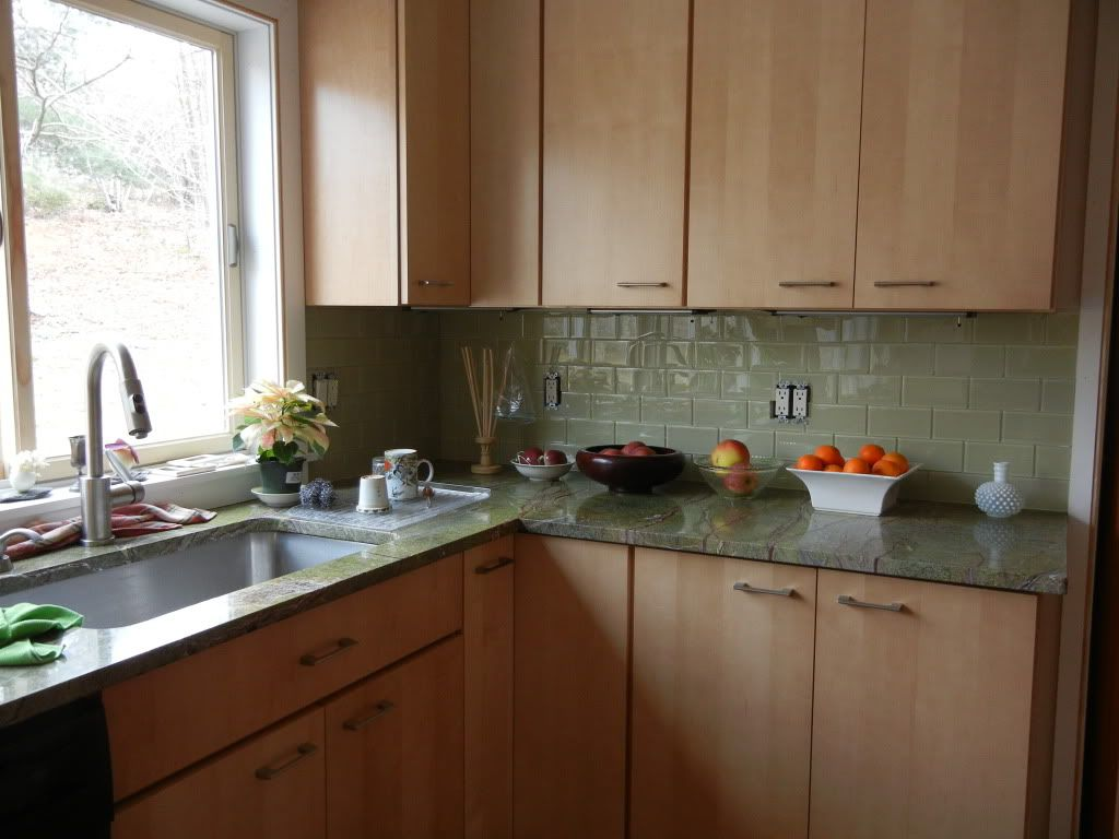 Green Glass Subway Tile With Maple Cabinets Green Kitchen