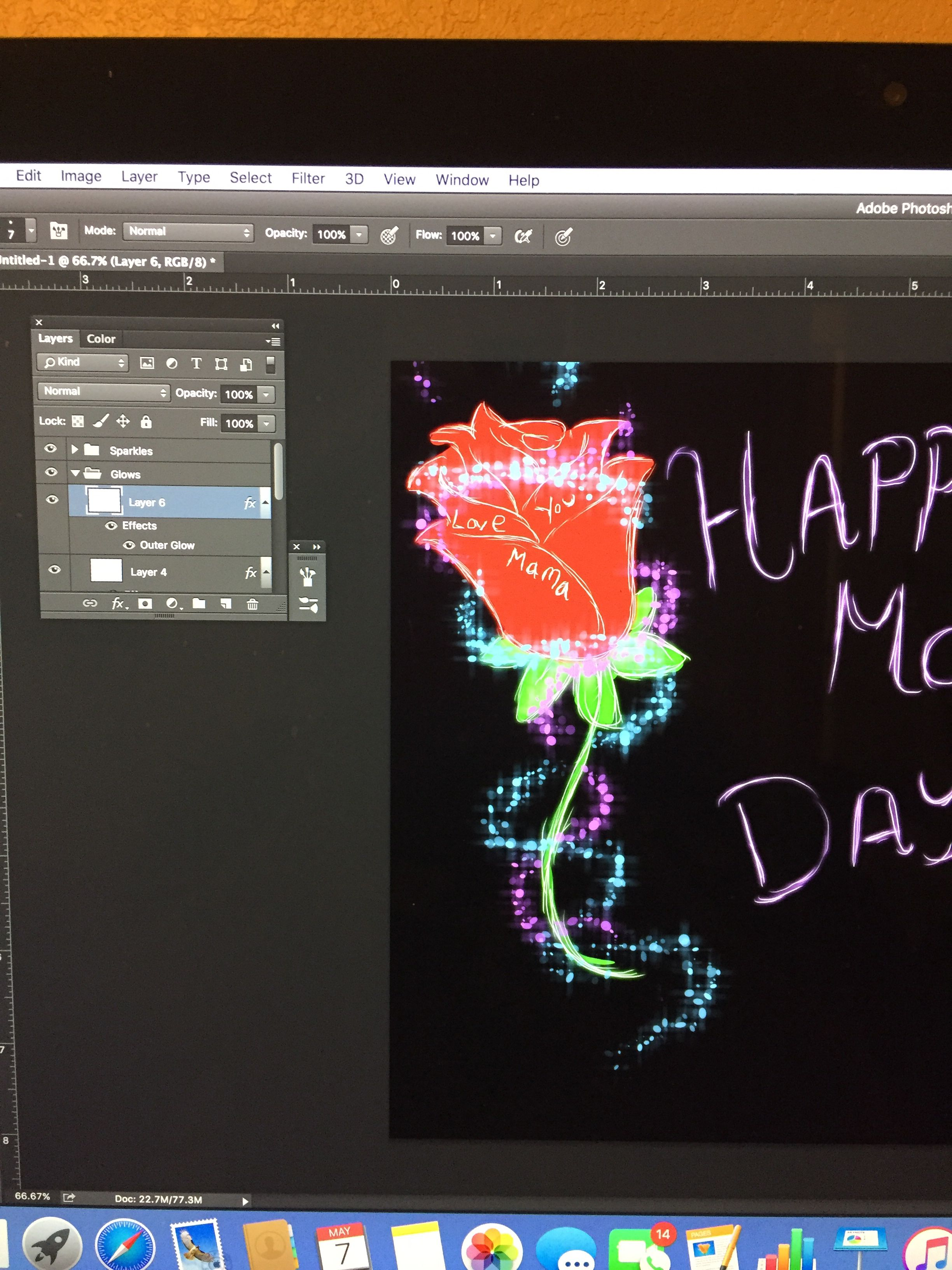 WIP of a Mother's Day thing I'm making...guess who finally remembered blending options are a thing you can do on Photoshop? And that blending options do a lot of cool shit?