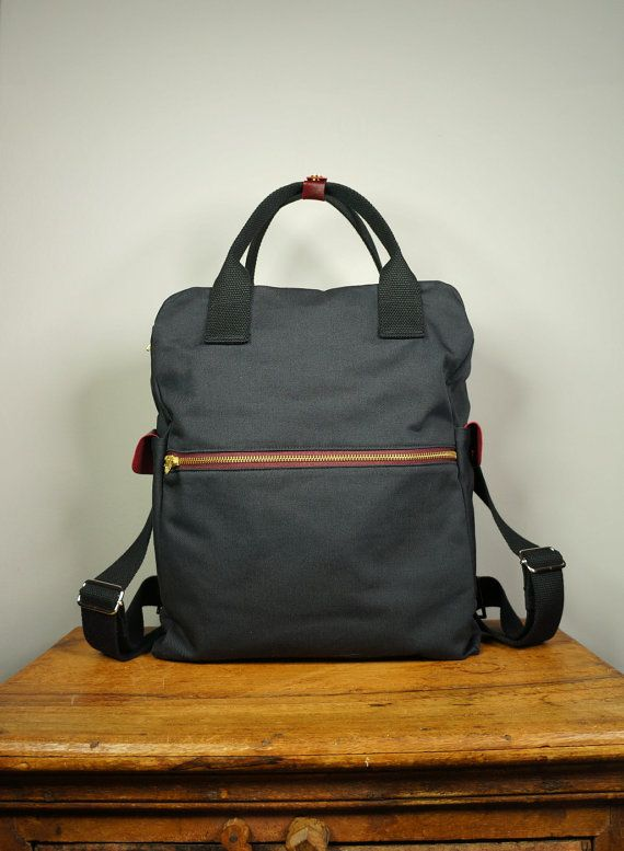 Cosmo Backpack In Black Canvas Twill Men Messenger
