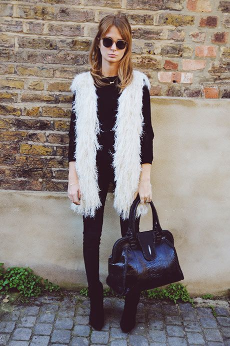 Nice White Fluffy Fashion Faux Fur Vests Outfits Vest Outfits
