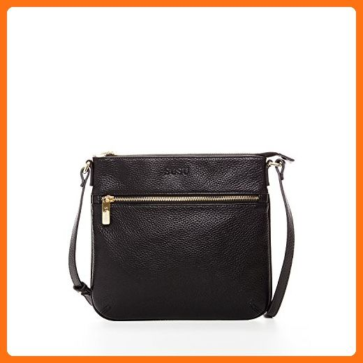 SUSU Black Crossbody Bags For Women Genuine Leather Shoulder Purse With  Outside Pockets Cute Messenger Handbag with One Long Strap Zipper Closure  Small ... 94b1803f04d5e