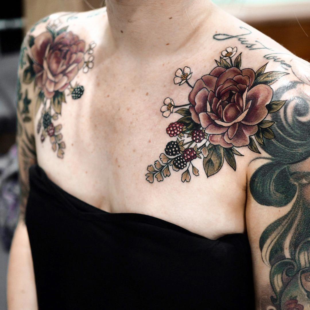 bestgirltattoos Chest piece tattoos, Girl tattoos, Tattoos