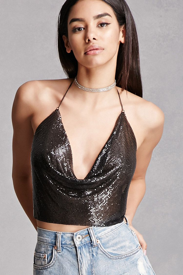 c25a3004ed6a2 A chainmail crop top by Kikiriki™ featuring a high-polish halter neckline  with an adjustable lobster clasp closure