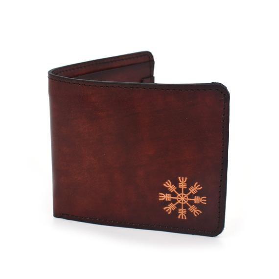 Aegishjalmur Viking Symbol Handmade Bifold Leather Wallet Dyed By Hand Wallet Chestnut Brown - Full #vikingsymbols
