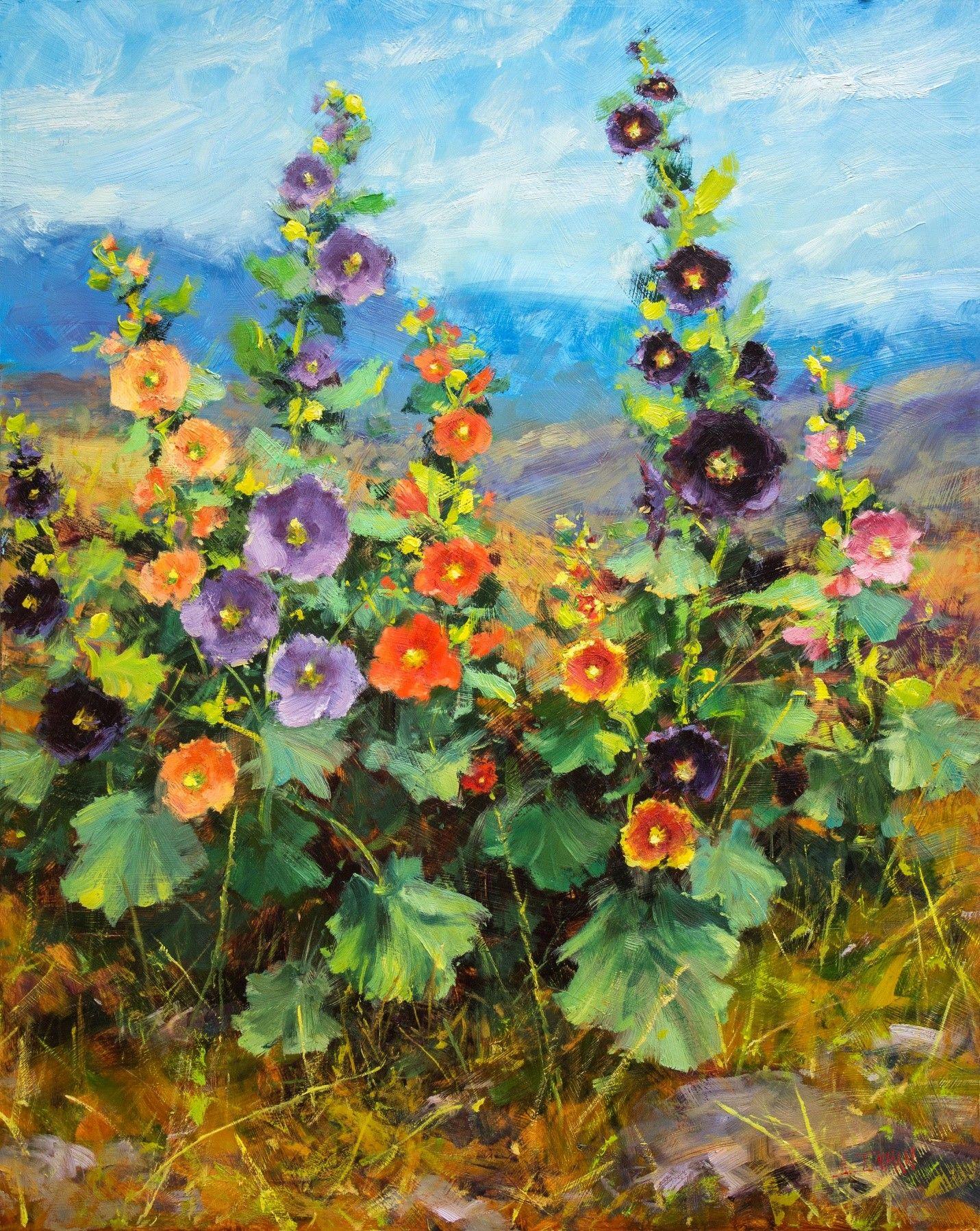How To Paint Hollyhocks Part 2 Peinture Fleurs Peinture A L