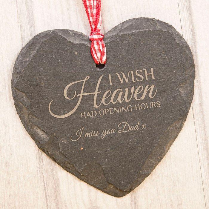 Engraved Heart-Shaped Slate Hanging Keepsake - I Wish Heaven   GettingPersonal.co.uk