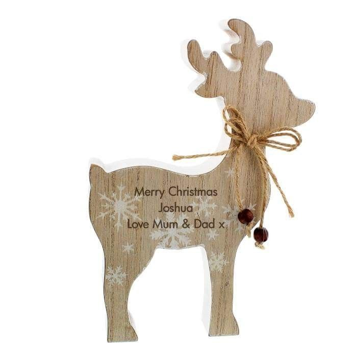 Personalised wooden reindeer Christmas decoration